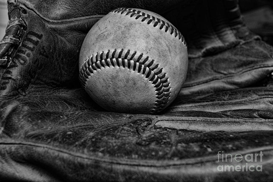 Baseball Broken In Black And White Photograph  - Baseball Broken In Black And White Fine Art Print