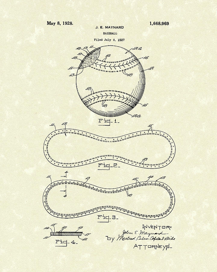 Baseball By Maynard 1928 Patent Art Drawing  - Baseball By Maynard 1928 Patent Art Fine Art Print