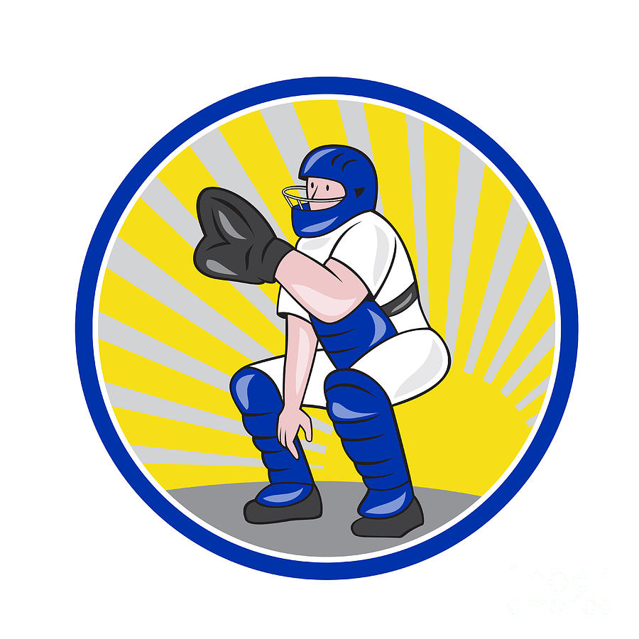 Baseball Catcher Catching Side Circle Digital Art