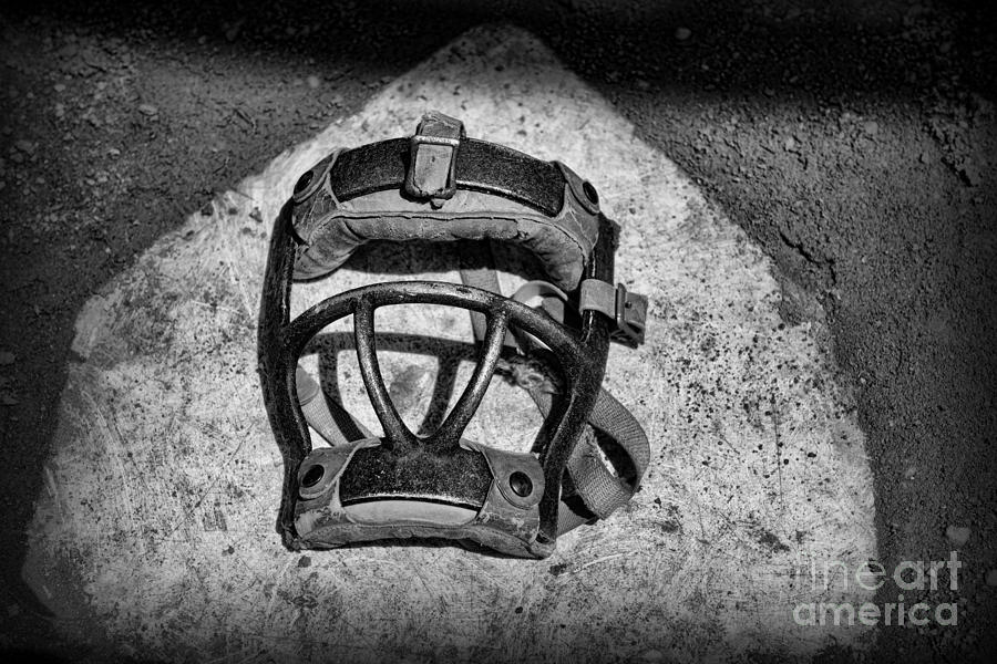 Baseball Catchers Mask Vintage In Black And White Photograph  - Baseball Catchers Mask Vintage In Black And White Fine Art Print