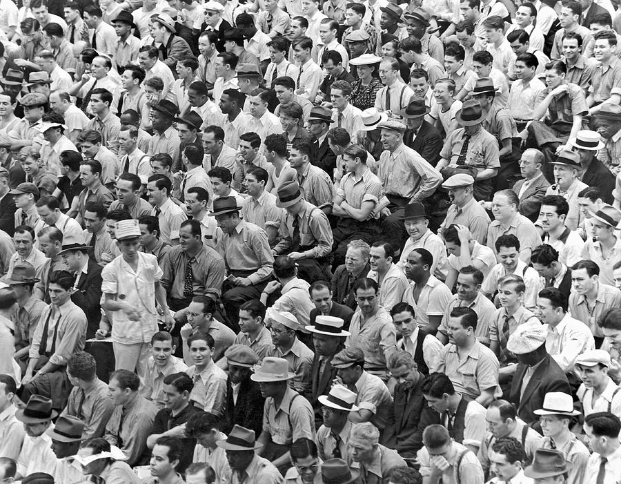 1956 Photograph - Baseball Fans In The Bleachers At Yankee Stadium. by Underwood Archives