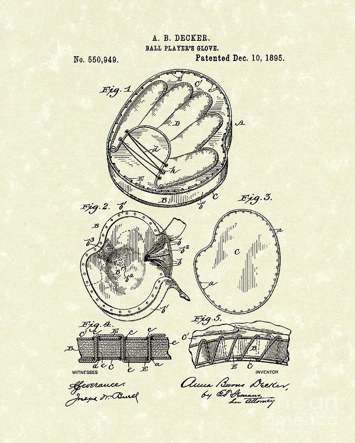 Baseball Glove 1895 Patent Art Drawing  - Baseball Glove 1895 Patent Art Fine Art Print
