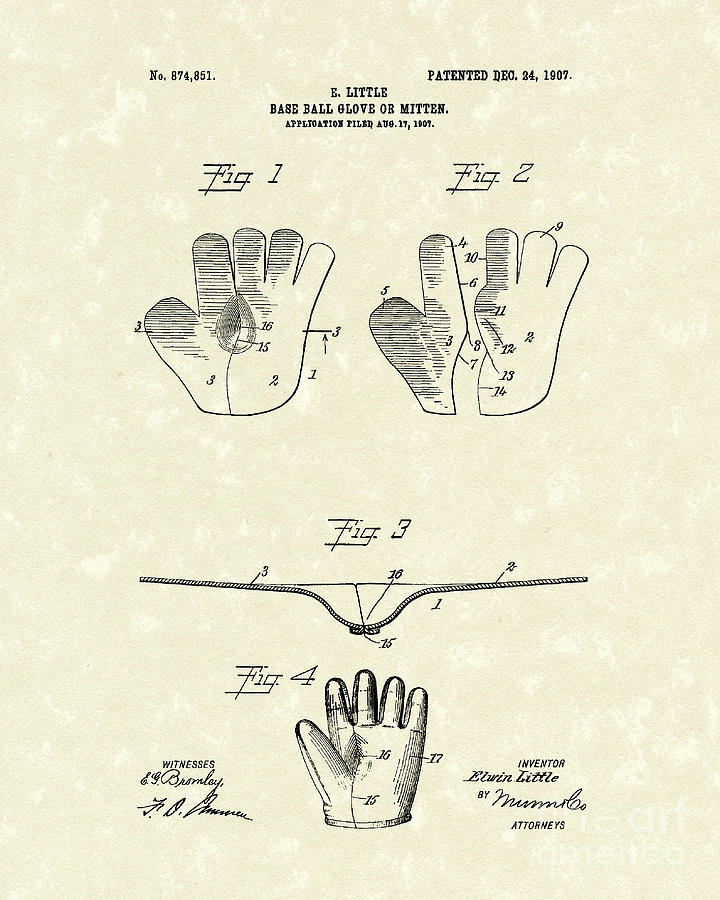 Baseball Glove 1907 Patent Art Drawing