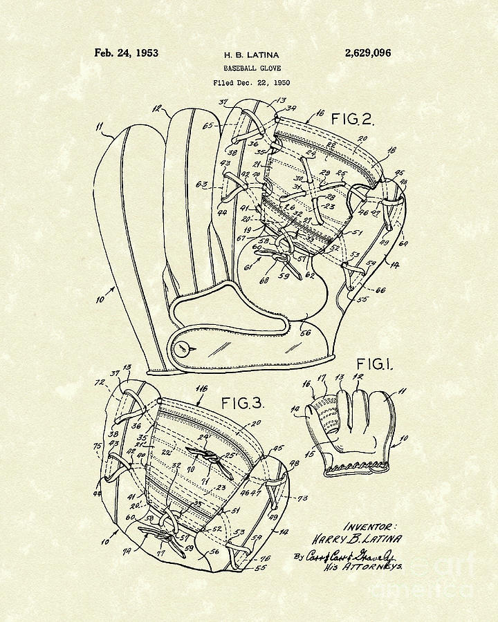 Baseball Glove 1953 Patent Art Drawing  - Baseball Glove 1953 Patent Art Fine Art Print