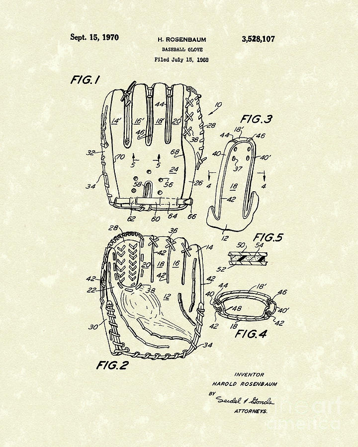 Baseball Glove 1970 Patent Art Drawing  - Baseball Glove 1970 Patent Art Fine Art Print