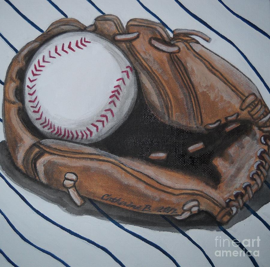 Baseball Glove Paint : Baseball glove and ball painting