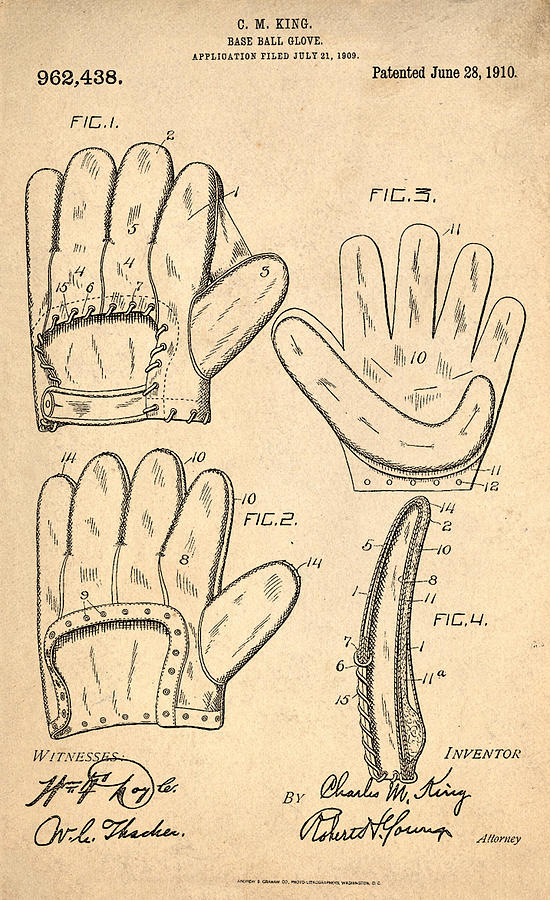 Baseball Glove Patent 1910 Photograph