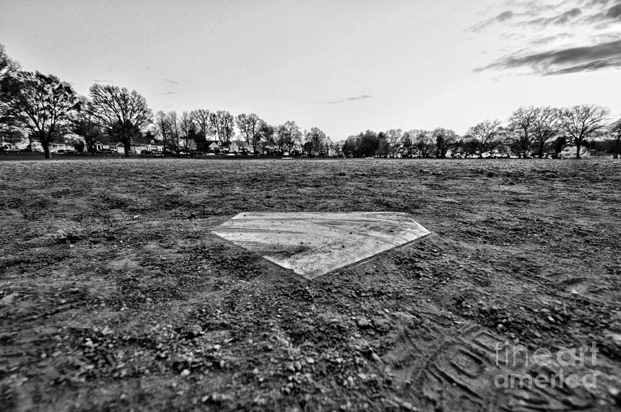 Baseball - Home Plate - Black And White Photograph