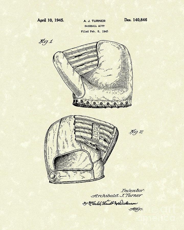 Turner Drawing - Baseball Mitt 1945 Patent Art by Prior Art Design