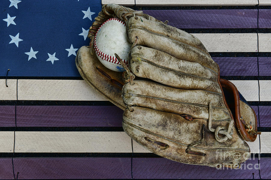 Baseball Mitt On American Flag Folk Art Photograph  - Baseball Mitt On American Flag Folk Art Fine Art Print