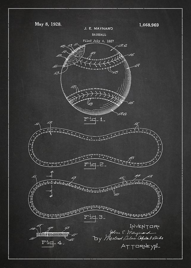 Baseball Patent Drawing From 1927 Drawing