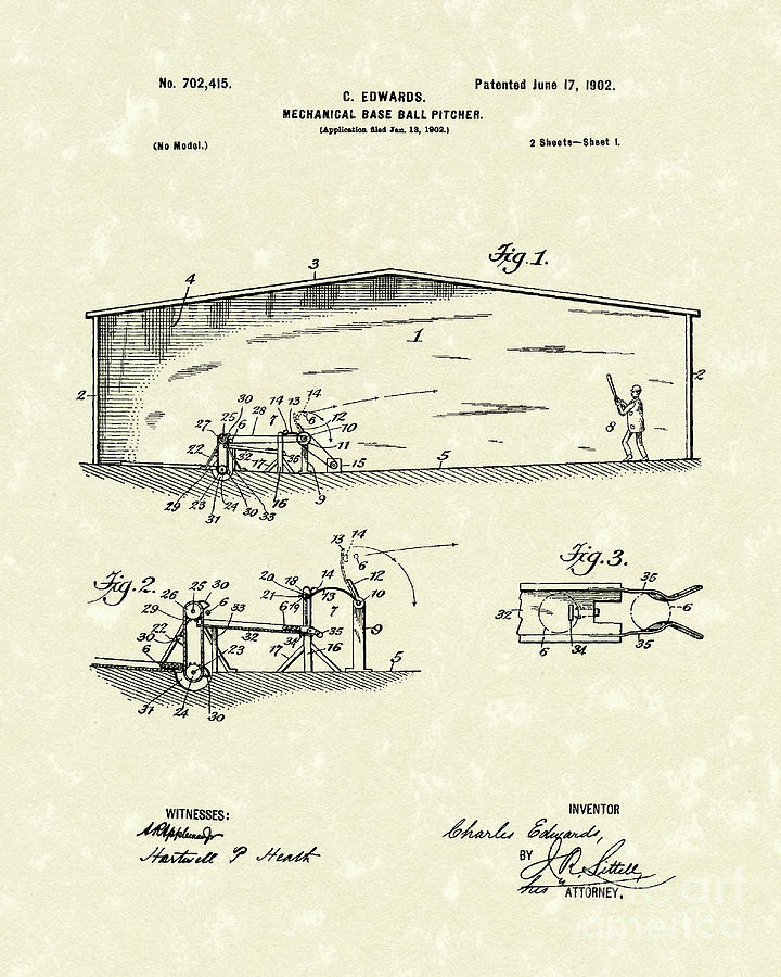 Baseball Pitcher 1902 Patent Art Drawing