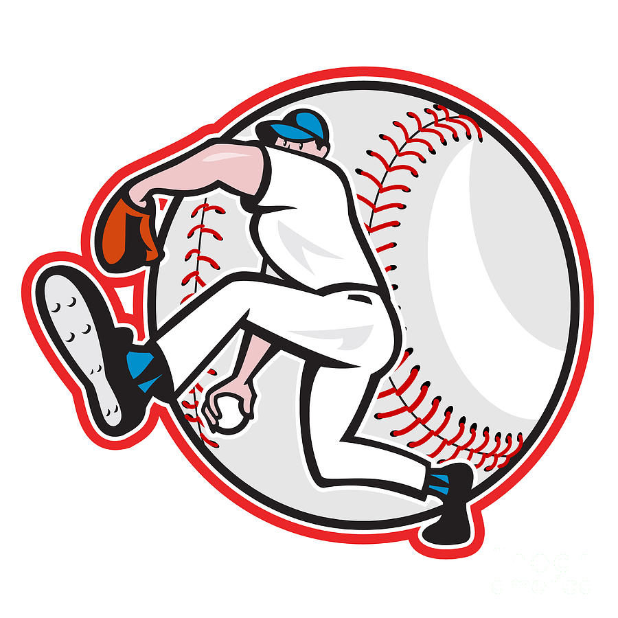 Baseball Pitcher Throw Ball Cartoon Digital Art