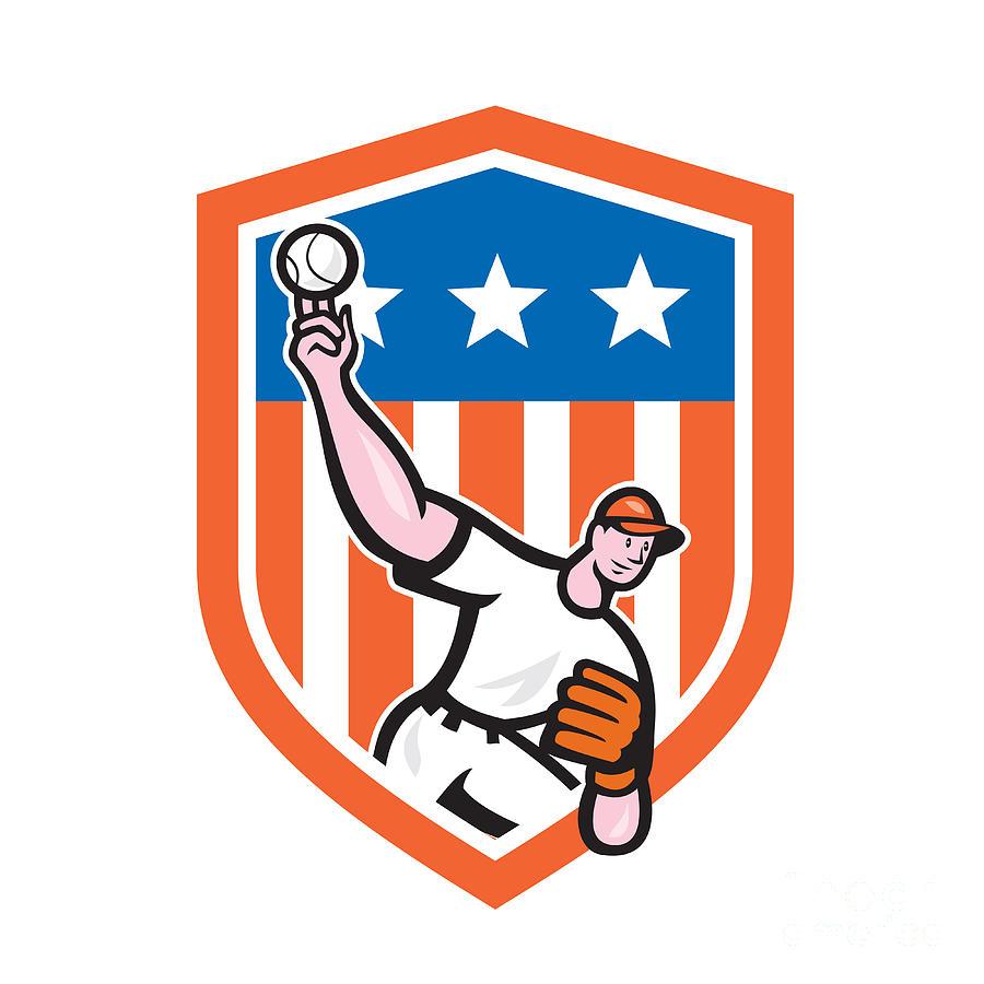 Baseball Pitcher Throw Ball Shield Cartoon Digital Art