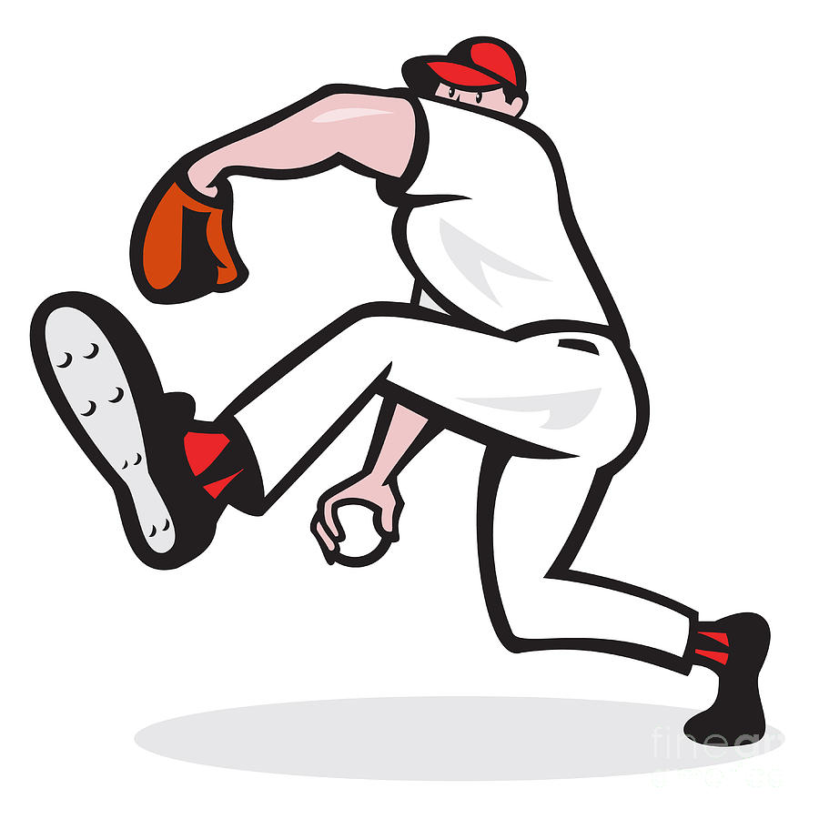 Baseball Pitcher Throwing Ball Cartoon Digital Art  - Baseball Pitcher Throwing Ball Cartoon Fine Art Print