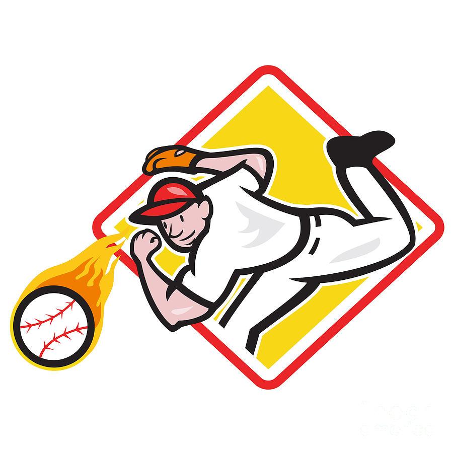 Baseball Pitcher Throwing Fire Ball Diamond Digital Art