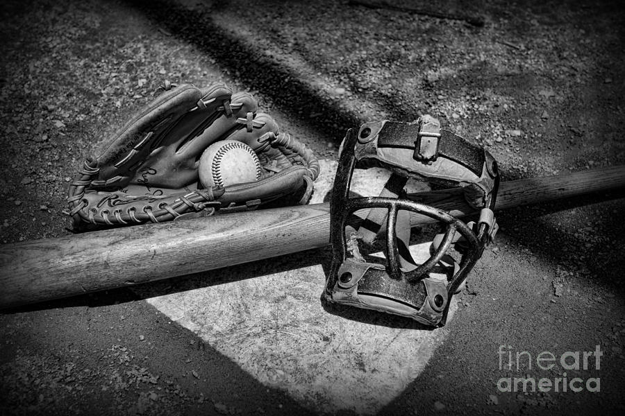 Baseball Play Ball In Black And White Photograph  - Baseball Play Ball In Black And White Fine Art Print