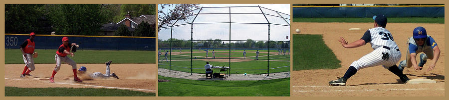 Baseball Playing Hard 3 Panel Composite 01 Photograph