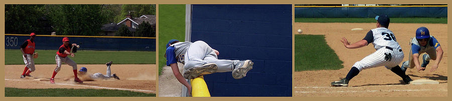 Baseball Playing Hard 3 Panel Composite 02 Photograph