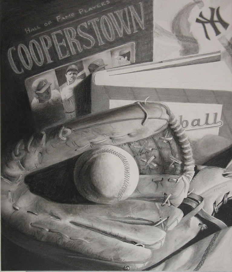 Baseball Still Life Drawing