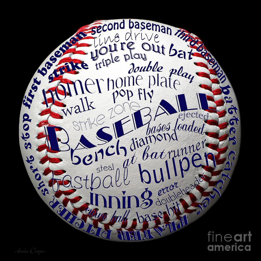 Baseball Digital Art - Baseball Terms Typography 1 by Andee Design