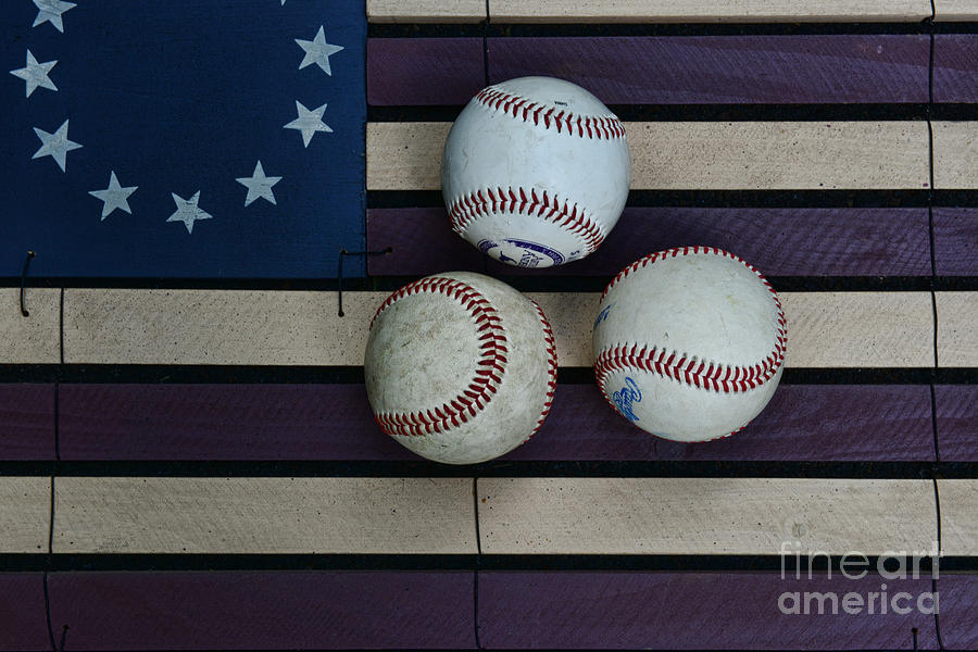 Baseballs On American Flag Folkart Photograph  - Baseballs On American Flag Folkart Fine Art Print