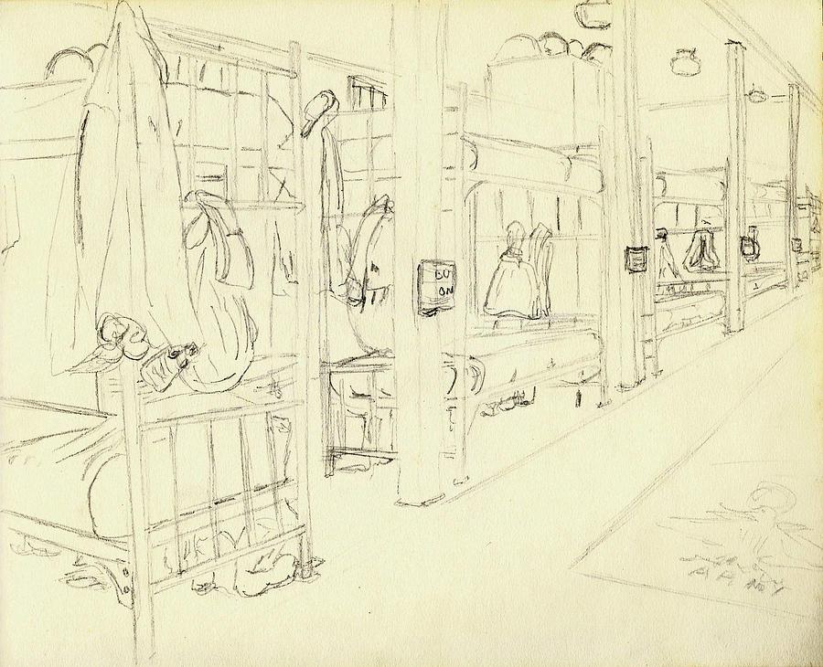Basic Training Barracks Interior I Fort Jackson 1976 Drawing
