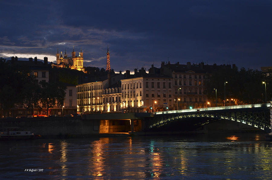 Basilica Notre Dame De Fourviere From Across The Rhone River Photograph