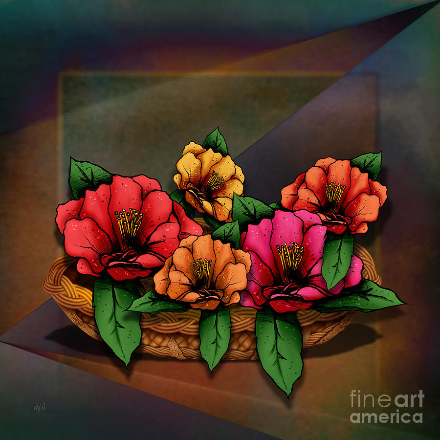 Basket Of Hibiscus Flowers Digital Art