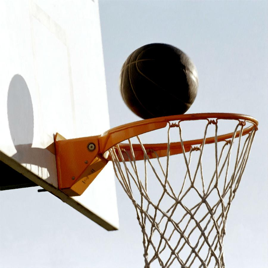 Basketball Hoop And Ball Painting - Basketball Hoop And Ball by Lanjee Chee