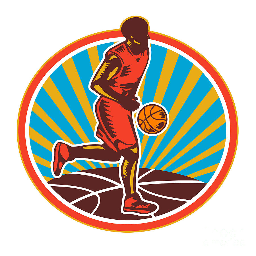 Basketball Player Dribbling Ball Woodcut Retro Digital Art