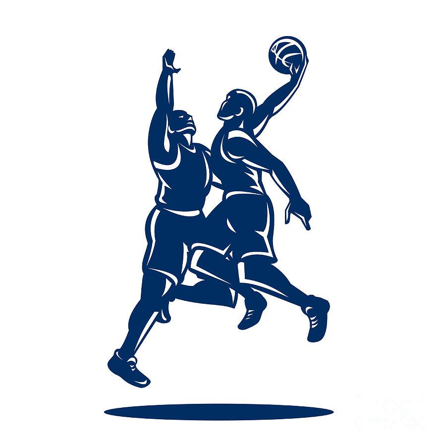 Basketball Digital Art - Basketball Player Dunk Block Retro by Aloysius Patrimonio