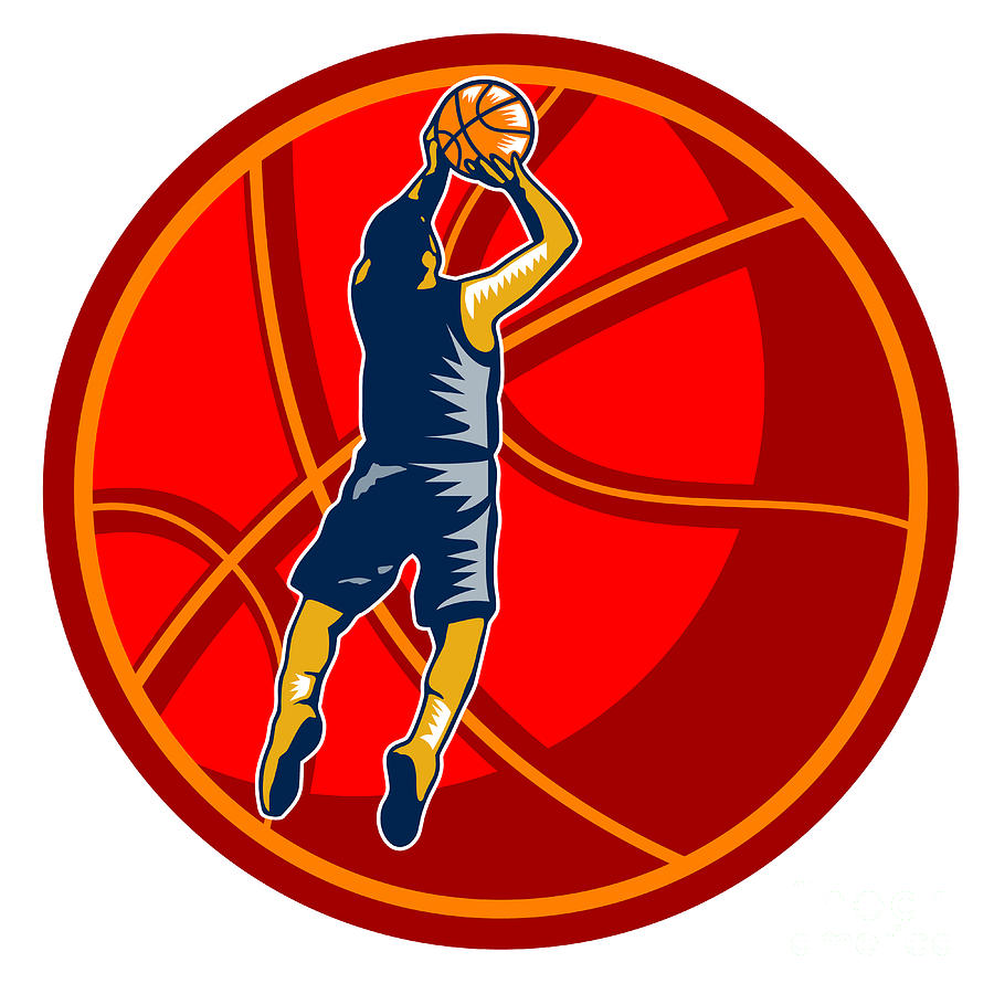 Basketball Player Jump Shot Ball Woodcut Retro Digital Art