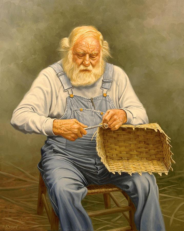 Bearded Man Painting - Basketmaker  In Oil by Paul Krapf