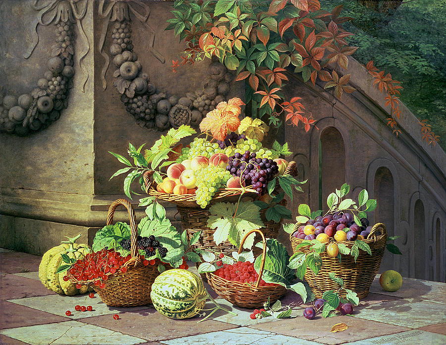 Baskets Of Summer Fruits Painting