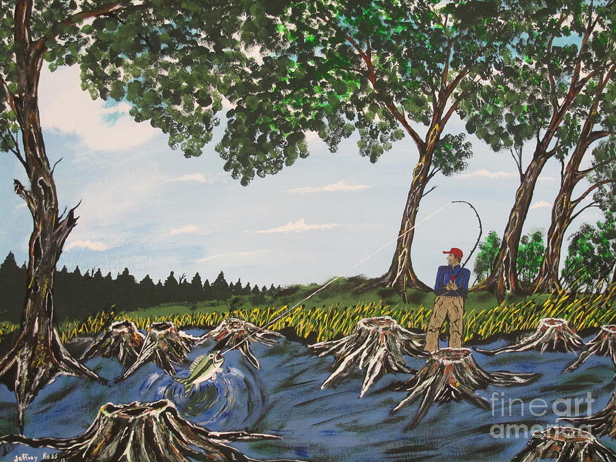 Fish Painting - Bass Fishing In The Stumps by Jeffrey Koss