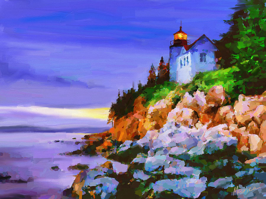 Bass Harbor Head Light At Sunset Painting  - Bass Harbor Head Light At Sunset Fine Art Print