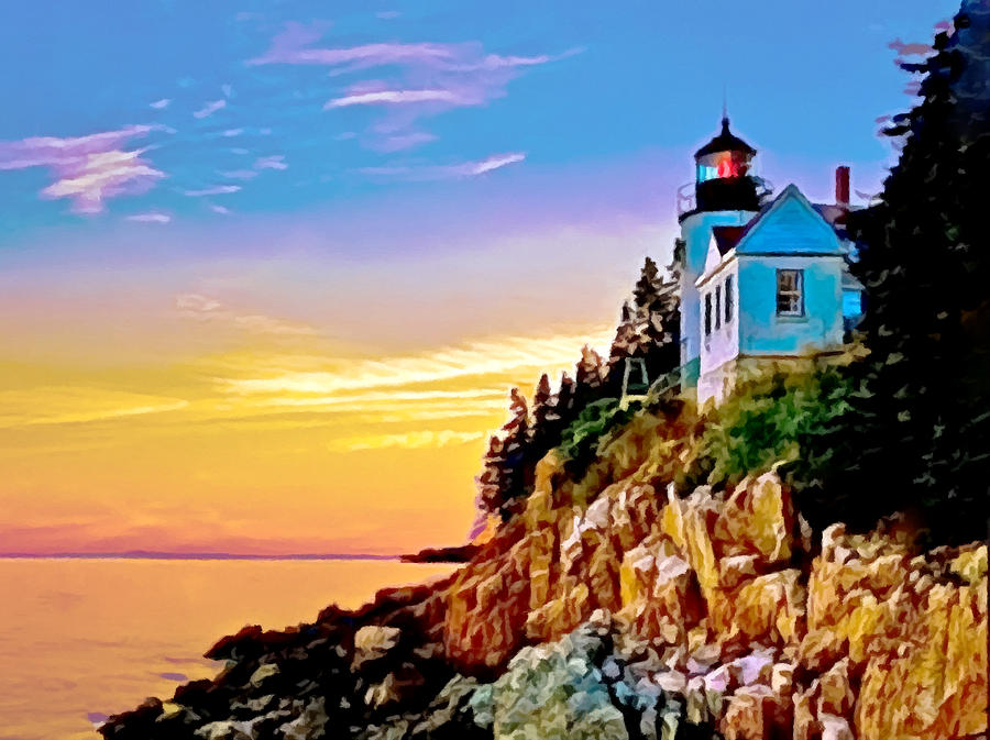 Bass Harbor Light Acadia Np Painting  - Bass Harbor Light Acadia Np Fine Art Print