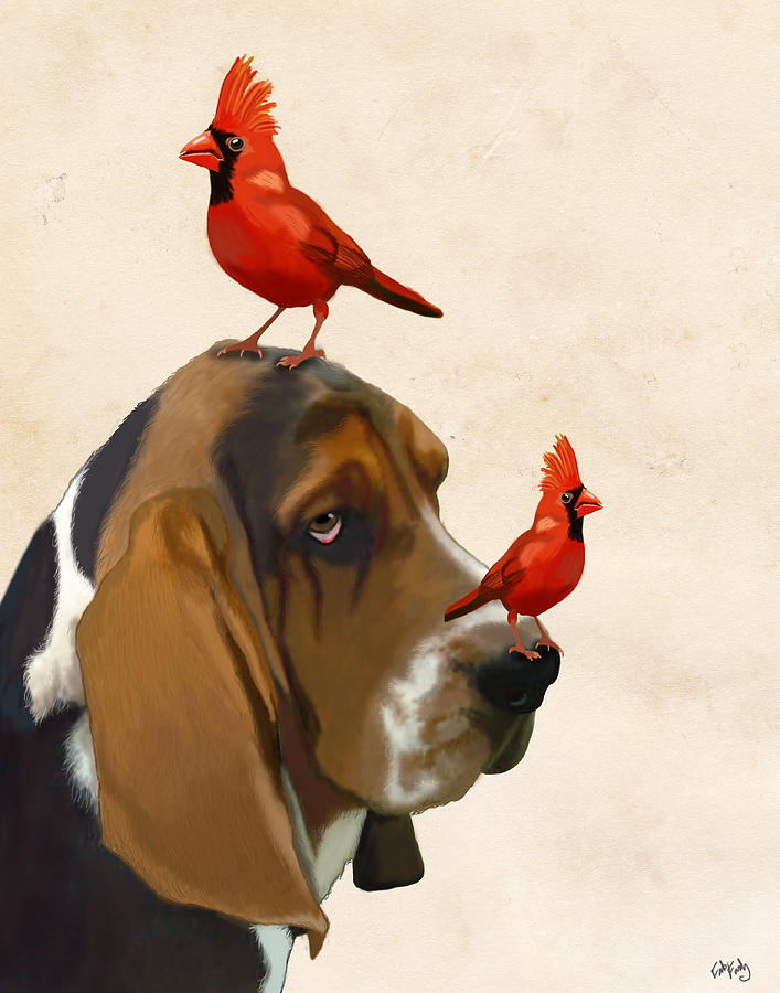 Basset Hound And Red Birds Digital Art