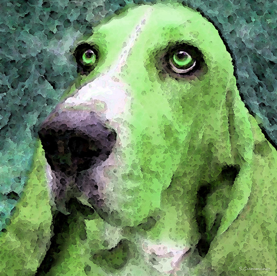 Basset Hound - Pop Art Green Painting  - Basset Hound - Pop Art Green Fine Art Print
