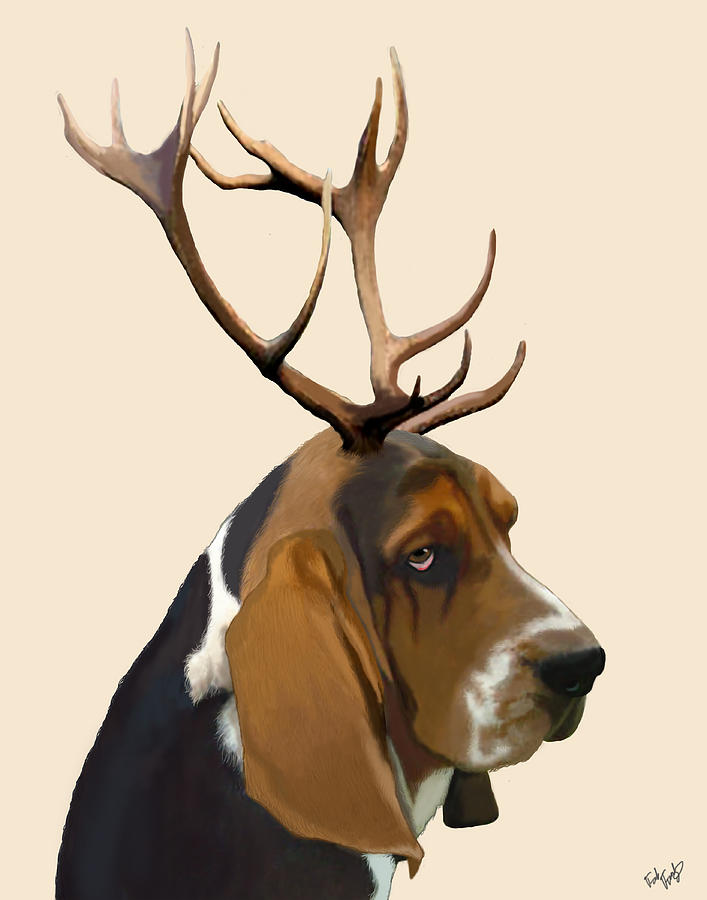Dog Framed Prints Digital Art - Basset Hound With Antlers by Kelly McLaughlan