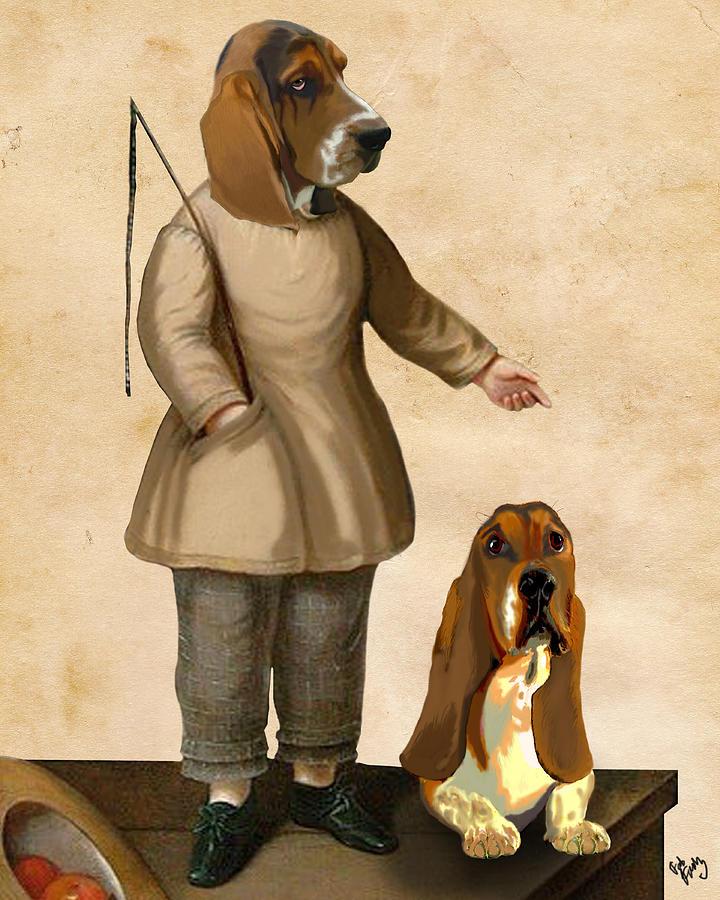 Dog Framed Prints Digital Art - Basset Hounds Two Basset Hounds by Kelly McLaughlan