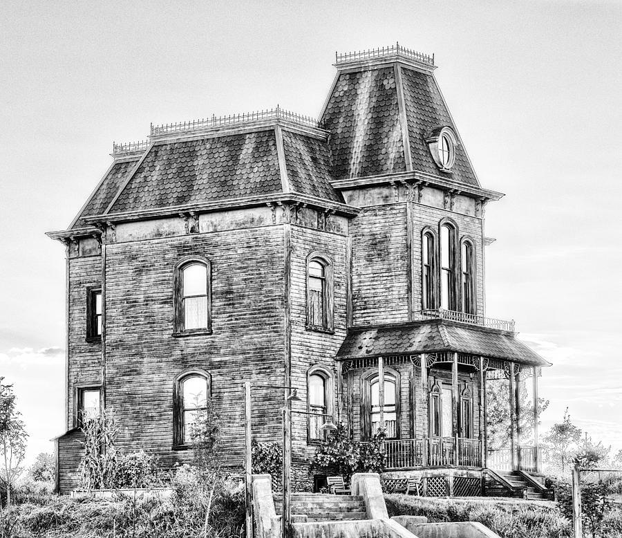 Bates Motel Haunted House Black And White Photograph
