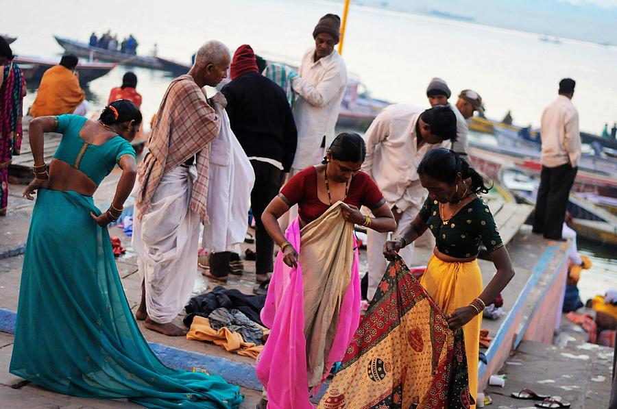 India Photograph - Bath At Ghat by Money Sharma