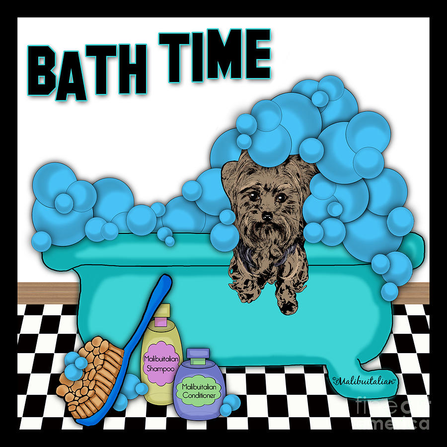 Bath Time Yorkshire Terrier Digital Art  - Bath Time Yorkshire Terrier Fine Art Print