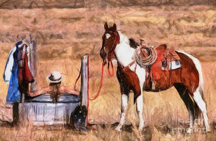 Bathing Cowgirl Painting  - Bathing Cowgirl Fine Art Print
