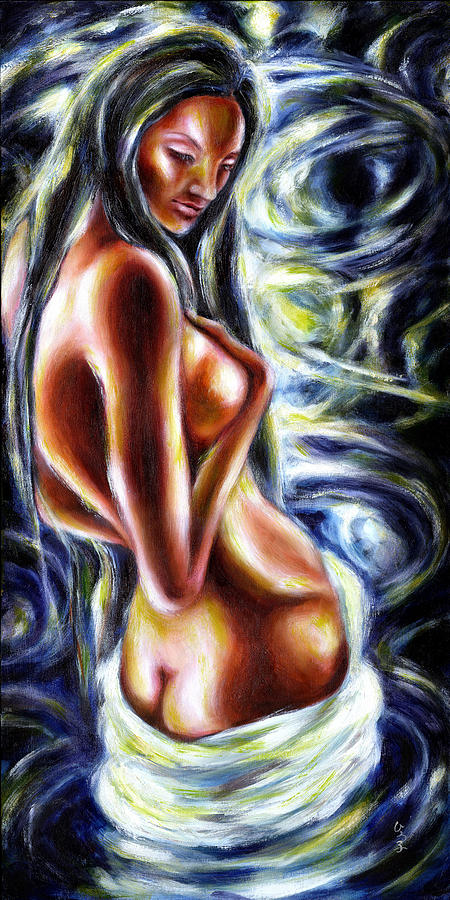 Bathing In Moon Light Painting  - Bathing In Moon Light Fine Art Print