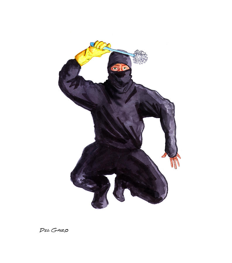 Bathroom Ninja Drawing  - Bathroom Ninja Fine Art Print