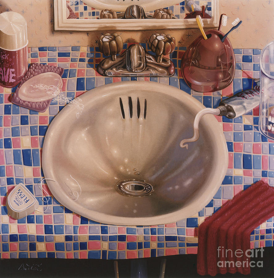 Bathroom Sink 1991  Skewed Perspective Series 1991 - 2000 Painting  - Bathroom Sink 1991  Skewed Perspective Series 1991 - 2000 Fine Art Print