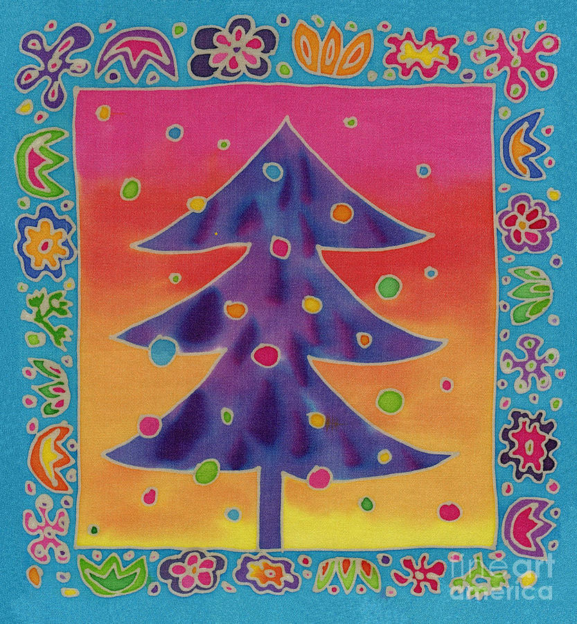 Batik Christmas Tree Tapestry - Textile  - Batik Christmas Tree Fine Art Print